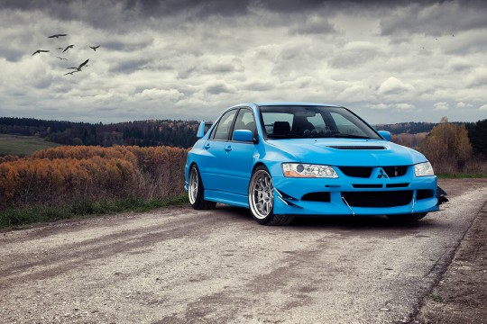 Mitsubishi Evolution Blue Porsche автомобиль фотограф